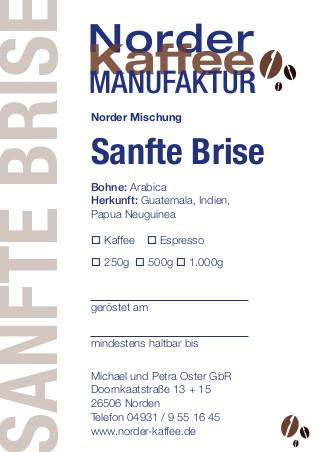 Sanfte Brise Kaffee Etikett